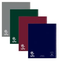 "LEFTY NOTEBOOK 1SUB 1PKT 11""x9"" COLLEGE RULED W/MARGIN PERF ASST"