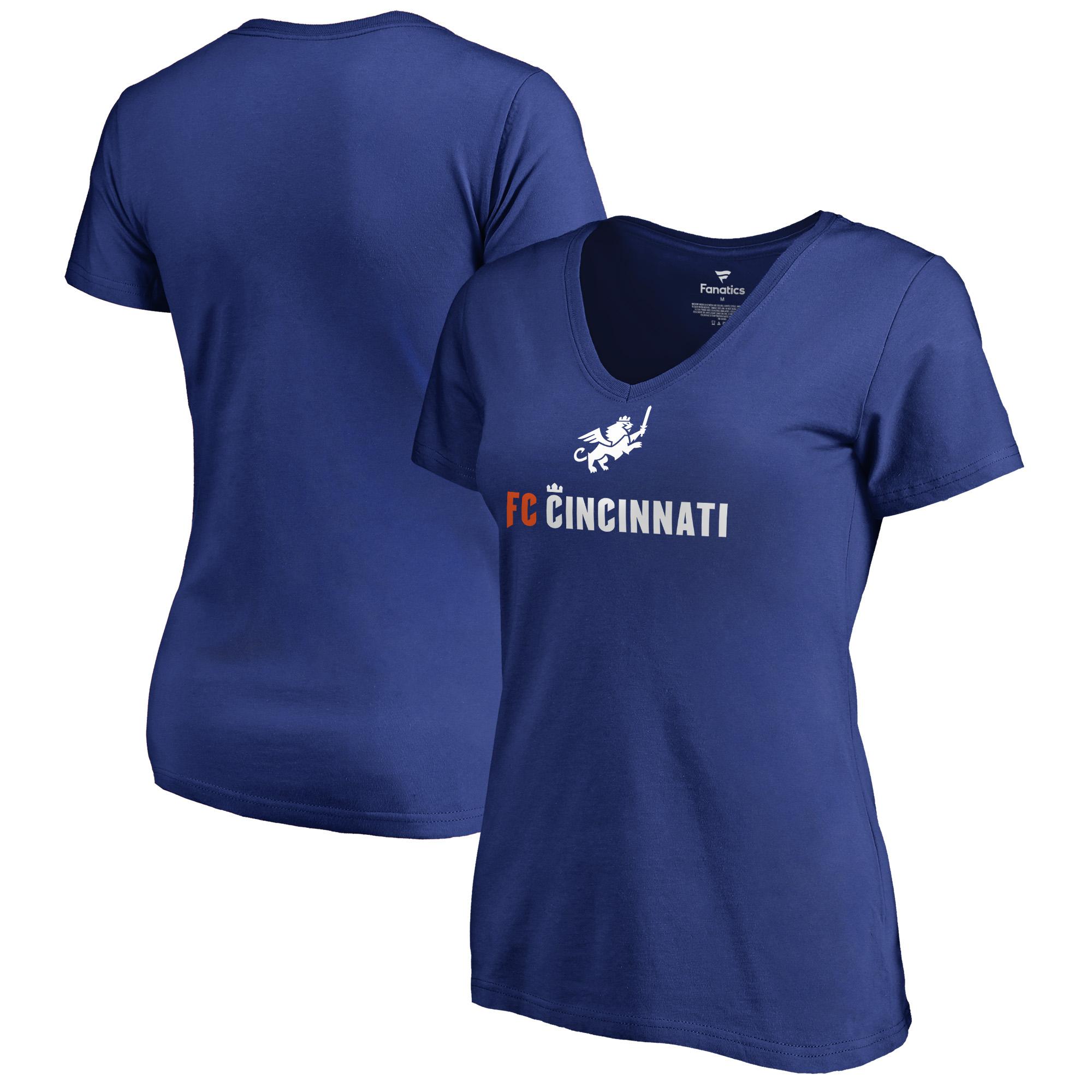 FC Cincinnati Fanatics Branded Women's Victory Arch Plus Size V-Neck T-Shirt - Royal
