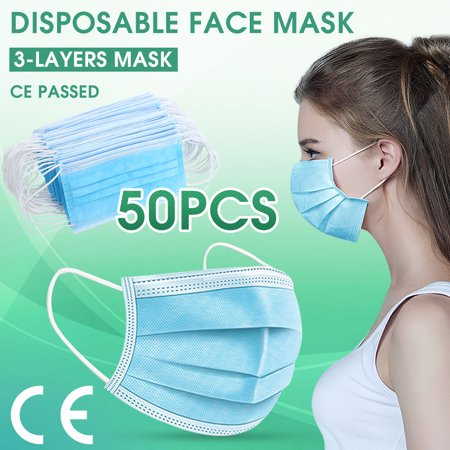 50 Pack Disposable Face Masks, 3-ply Elastic Ear Loop Filter Mask - image 3 of 3