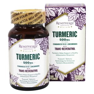 Reserveage Nutrition - Turmeric with Resveratrol 500 mg. - 60 Vegetarian Capsules