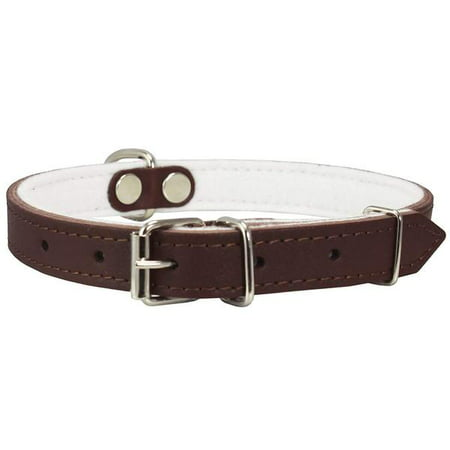 Dogs My Love Genuine Leather Felt Padded Dog Collar Brown