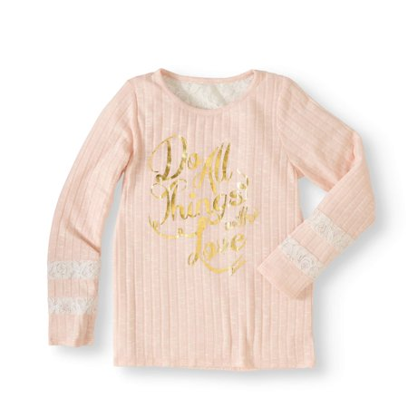 Cherokee Girls' Sweater Rib Graphic Top