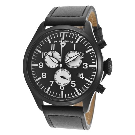 Swiss Legend 30332-Bb-01-Wa Pioneer Chrono Black Genuine Leather And Dial Black Ip Ss White Accents Watch