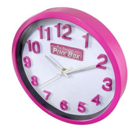 The Original Pink Box PB12WC Round Analog Wall Clock, 10-Inch, Pink