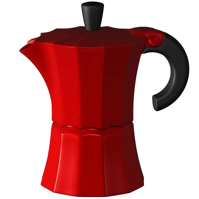 Gnali & Zani V210R-6 Morosina Express Stovetop Espresso Makers  Red  Measures  - 6 Cup