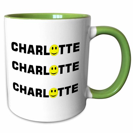 3dRose Print of Charlotte With Smiley Face For O - Two Tone Green Mug, 11-ounce