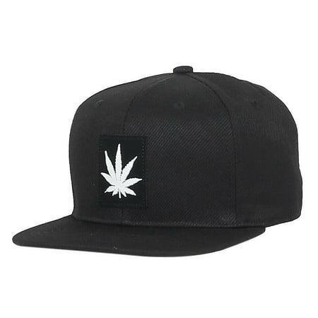 MARIJUANA Snapback Baseball Cap Weed Leaf Hat Cannabis 420 Fashion Premium (7fc021_Black) ()