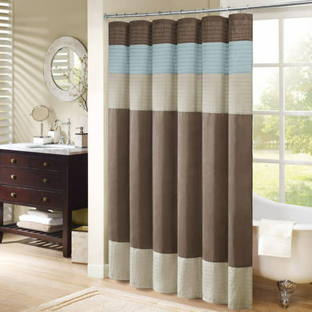 Salem Solid Pieced Polyester Shower Curtain Brown