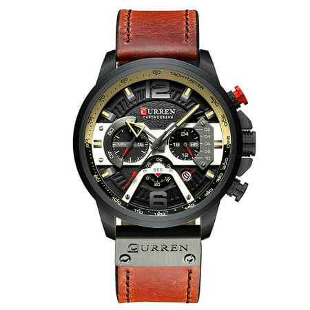 CURREN 8329 Quartz Watch Business Men Simple Sport Wristwatch Three Sub-Dials Calendar Second Minute 24 Hour Display 3ATM Waterproof Fashion Casual Male Watches Relogio Masculino