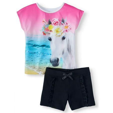Photoreal Graphic Top & Ruffle Short, 2-Piece Outfit Set (Little Girls & Big Girls)](Outfits From Different Decades)