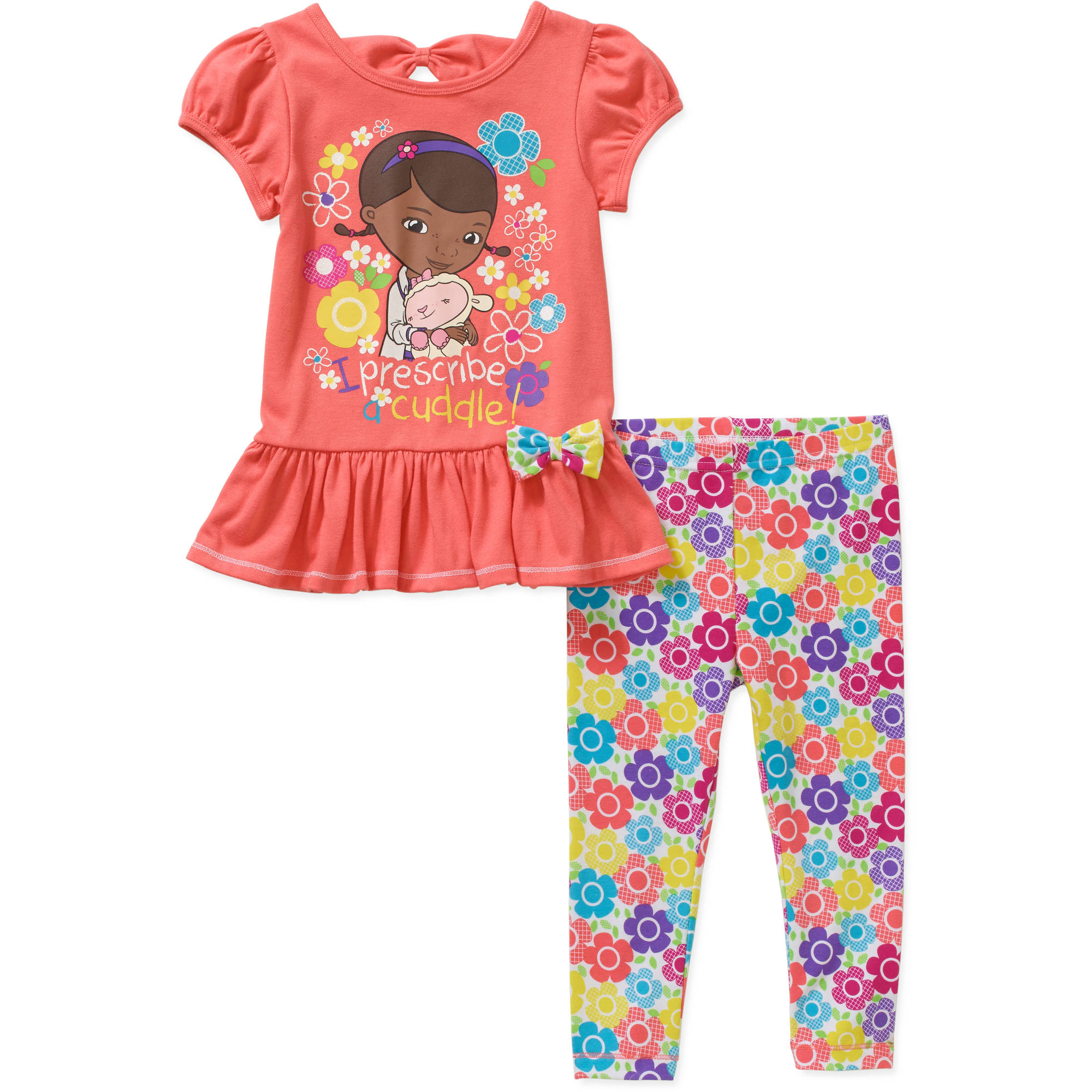 Doc McStuffins Toddler Girls' Peplum Tunic and Leggings Outfit Set