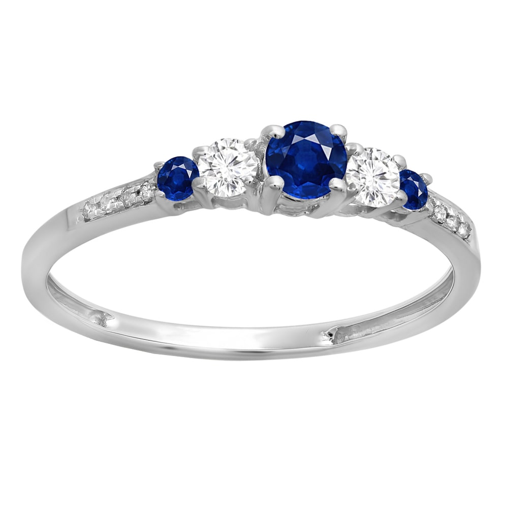 Elora 14k Gold 3/8ct Round-cut Blue Sapphire and White Diamond 5 Stone Engagement Ring (H-I, I1-I2)