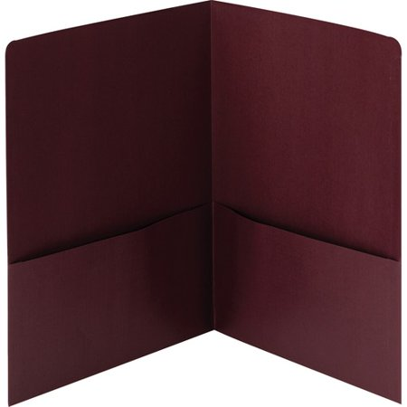 - Smead Linen Two-Pocket Folders - Letter - 2 Pocket(s) - Linen - Maroon - Recycled - 25 / Box SMD87947