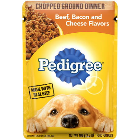 PEDIGREE Adult Wet Dog Food Chopped Ground Dinner Beef, Bacon and Cheese Flavors,  3.5 oz. Pouch