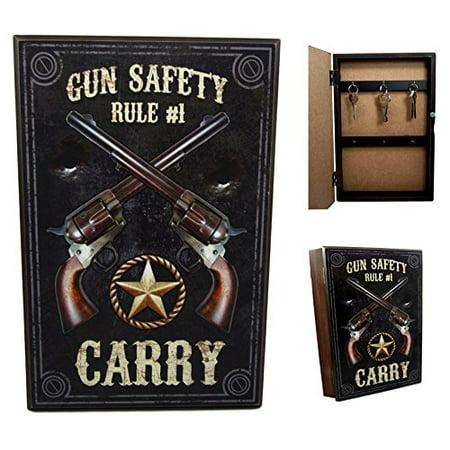 Ebros Gift Western Dual Revolver Gun Carry Rule Secret Safe Book Shaped Multiple Keys Decorative Storage Organizer