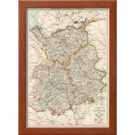 Map Of Shropshire Staffordshire And Cheshire England 1870s