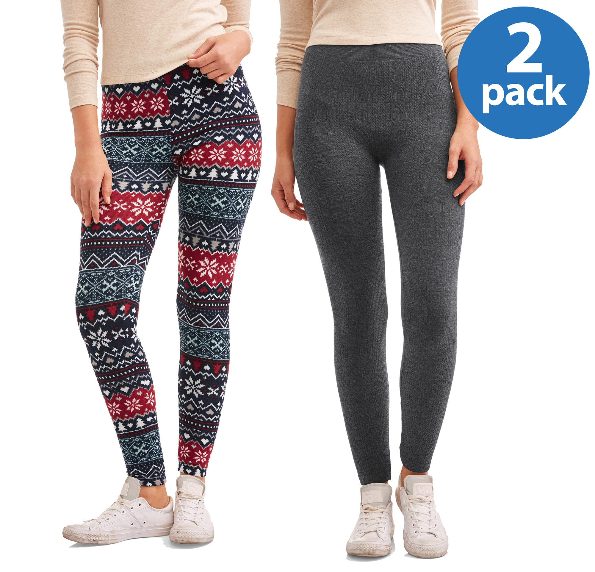 Faded Glory Women's 2 Pack Printed Legging Holiday Combo