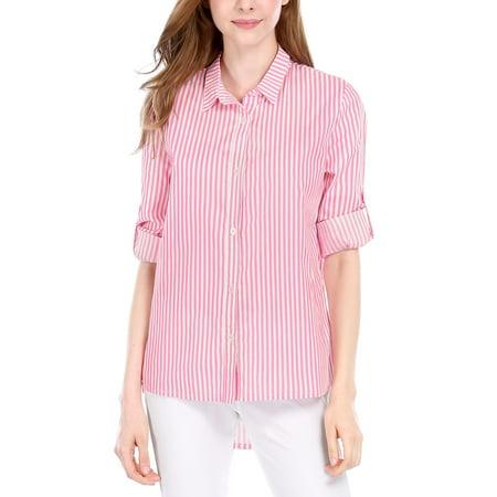 fe021cc915 Allegra K Women Vertical Stripes High Low Hem Roll Up Sleeve Shirt Pink  White XS ...
