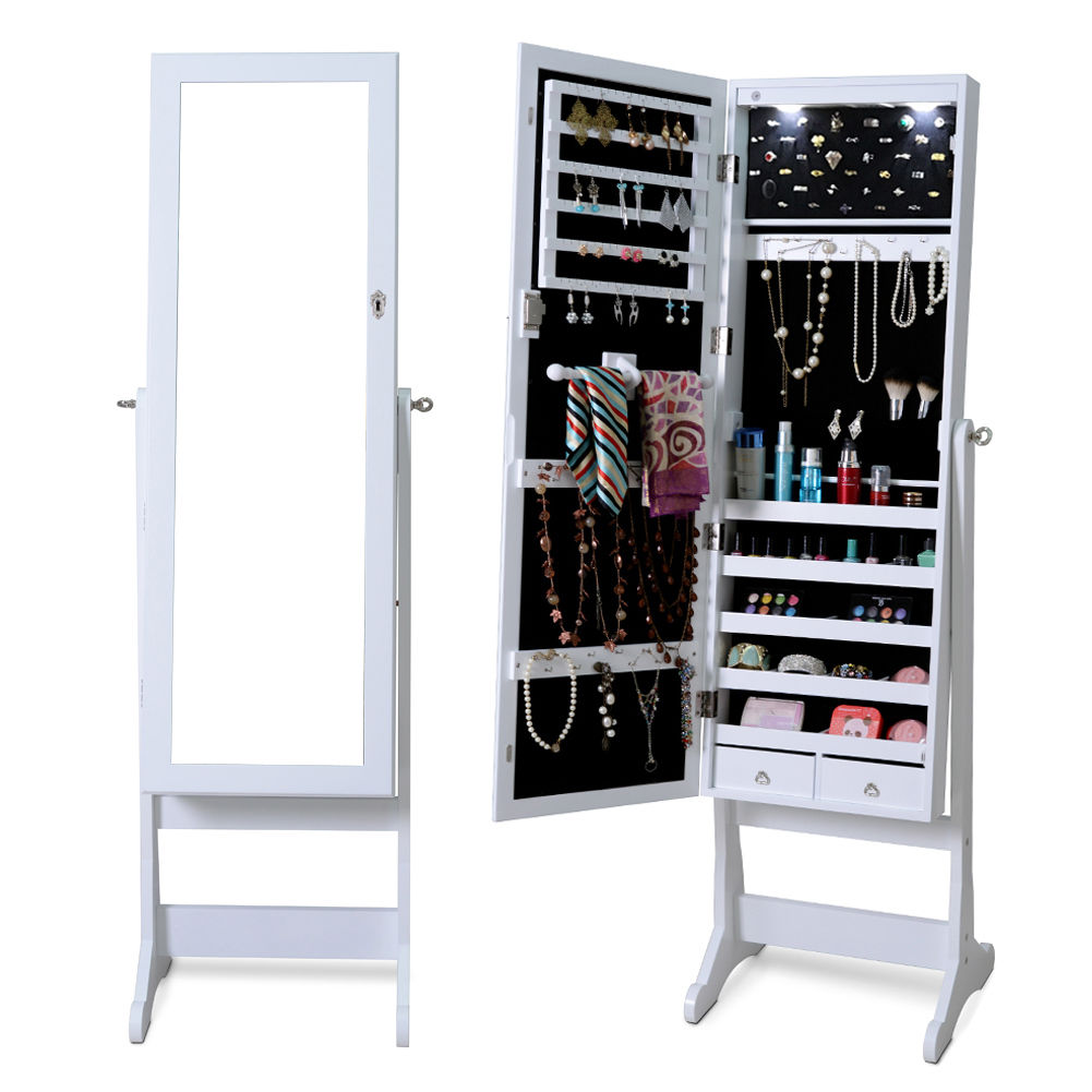 Costway Lockable Mirrored Jewelry Cabinet Armoire Organizer