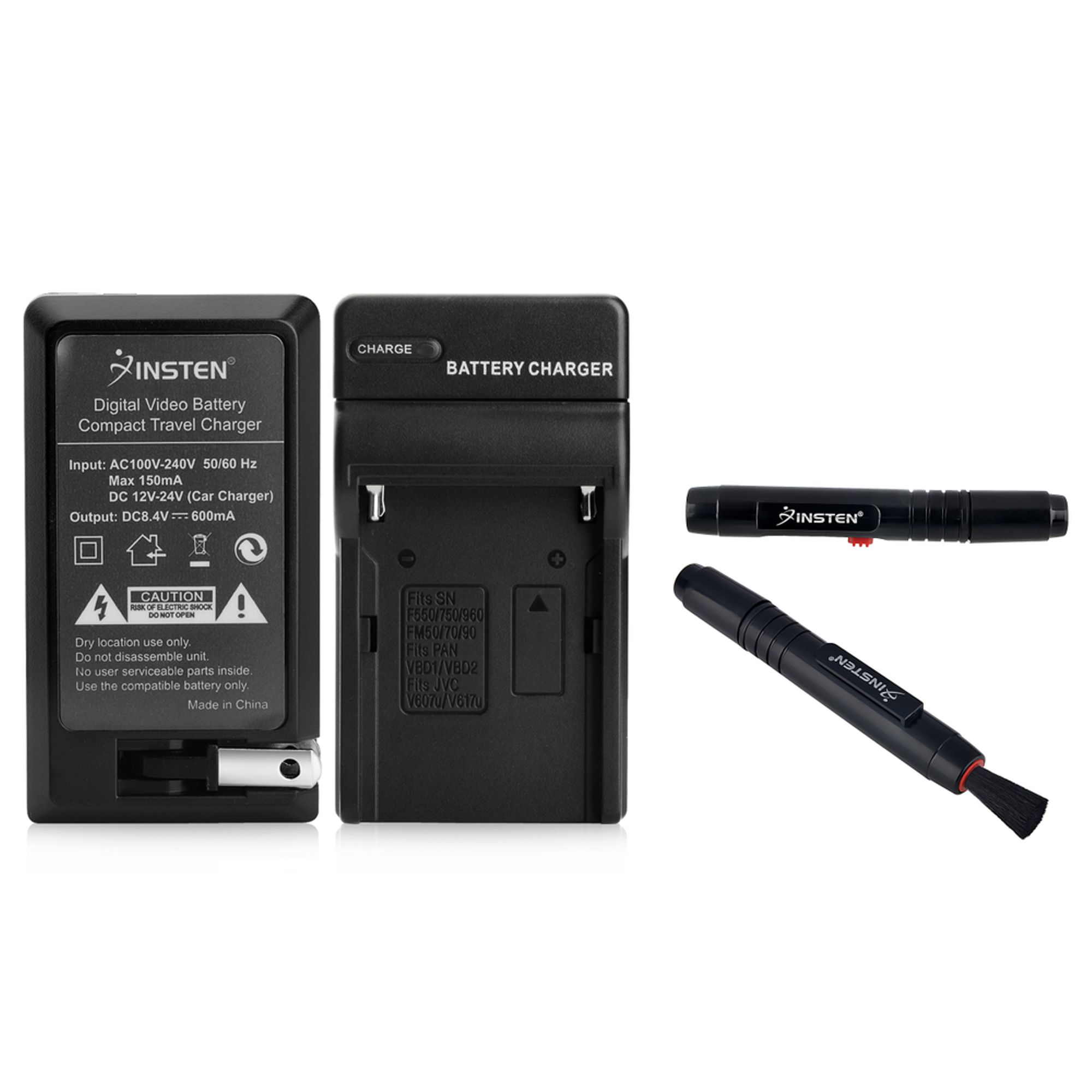 Insten WALL AC TRAVEL + CAR CHARGER FOR SONY NP-F330 BATTERY (with CLEANING LENS PEN)