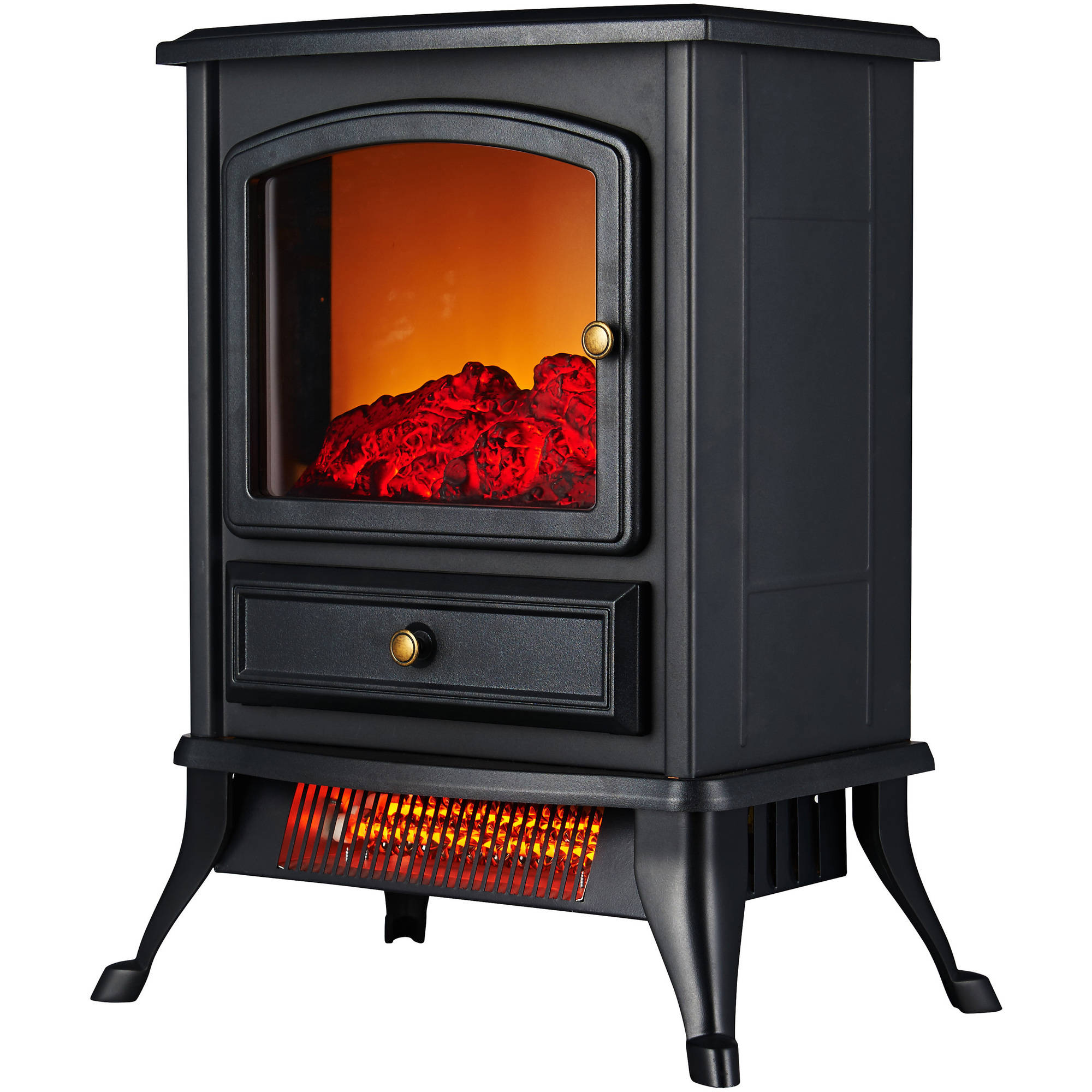 Electric Fireplace Free Standing Heater Glass Fire Flame