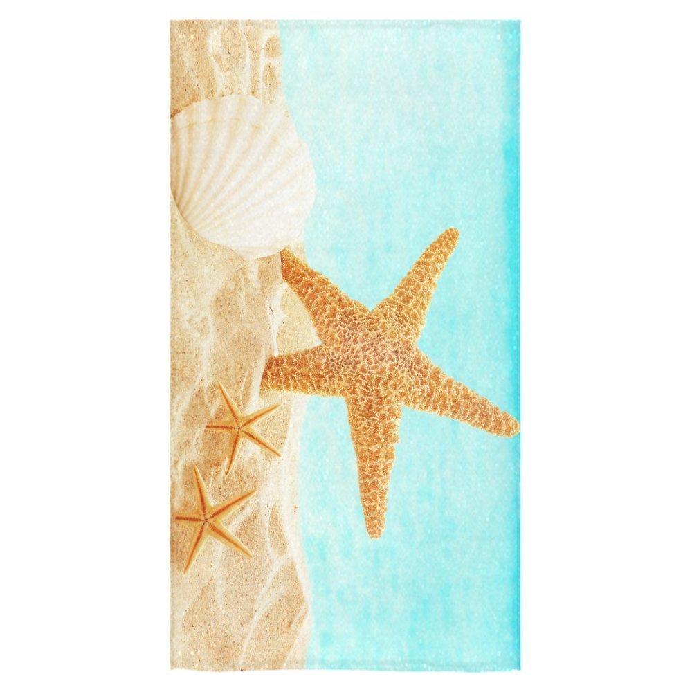 "ZKGK Starfish Shells Beach Bath Towel Towel Sea Inhabitants On Sandy Beach Towel Bathroom Shower Towel Bath Wrap 30""X56"" For Home,Outdoor and Travel Use"