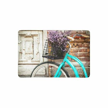 MKHERT Vintage Bicycle with Basket and Lavender Flowers Near The Old Wooden Door Doormat Rug Home Decor Floor Mat Bath Mat 23.6x15.7 inch ()