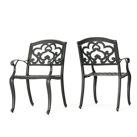 Augusta Seating - Augusta Outdoor Cast Aluminum Dining Chairs, Set of 2