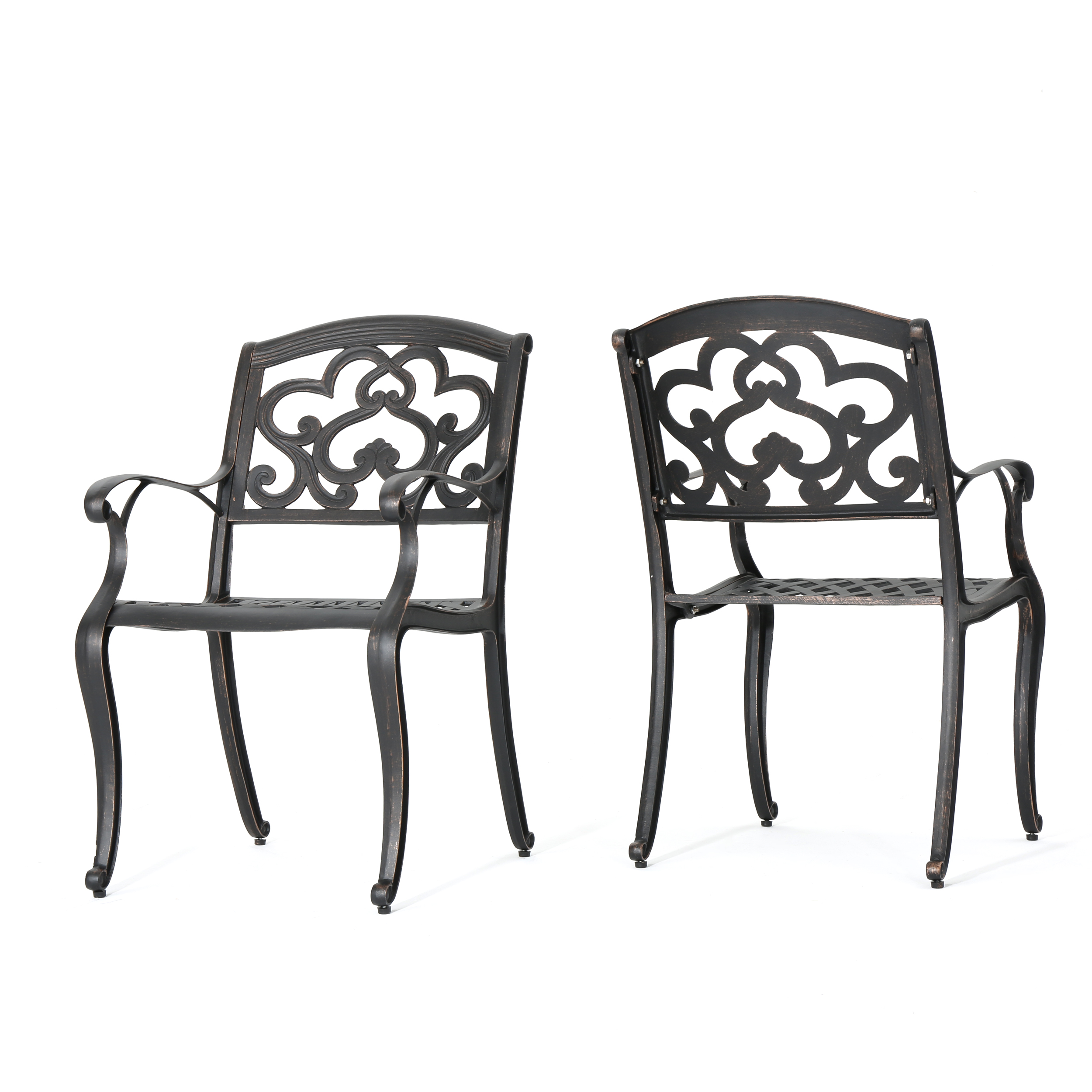 Augusta Outdoor Cast Aluminum Dining Chairs, Set of 2