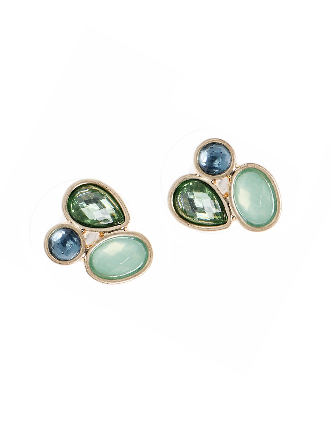 Green Stone Cluster Earrings