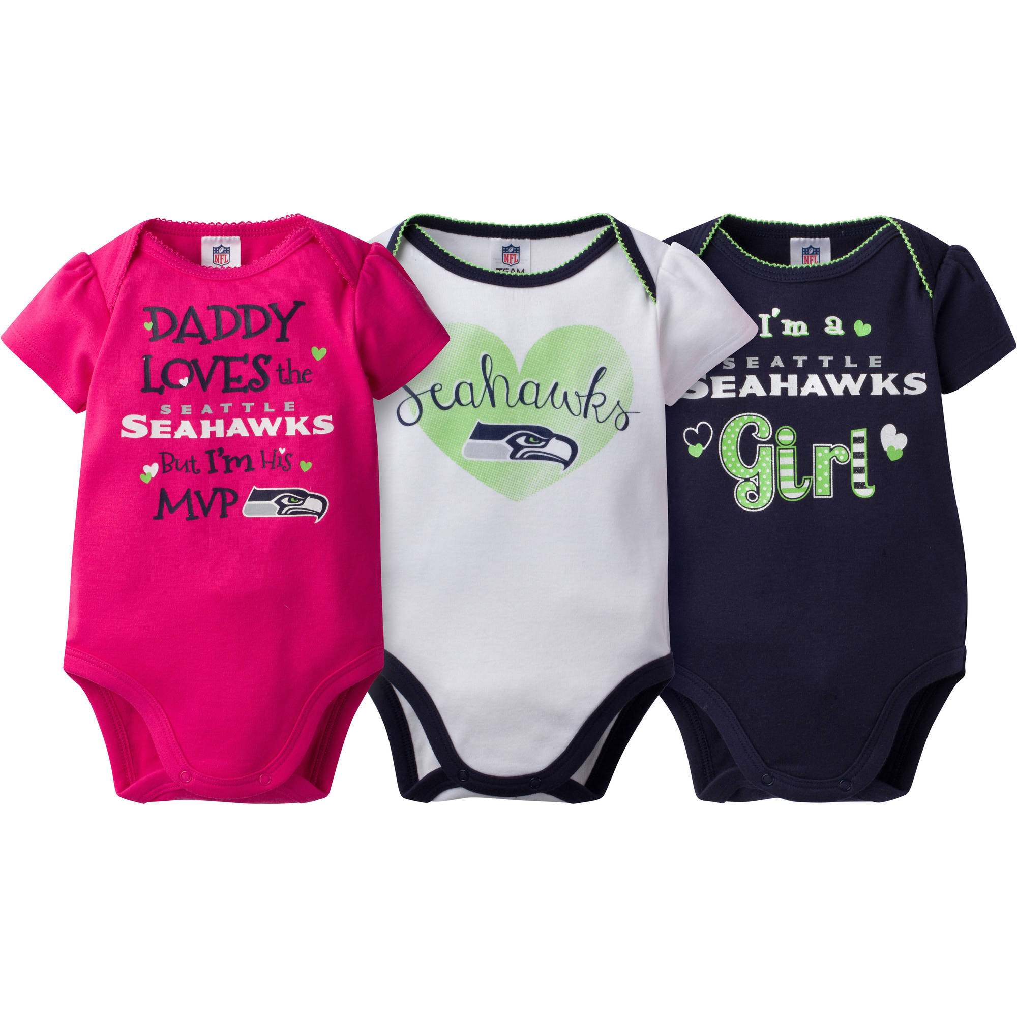 NFL Seattle Seahawks Baby Girls Short Sleeve Bodysuit Set, 3-Pack