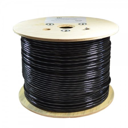 Bare Copper 1000ft CAT6 550Mhz Outdoor / Direct Burial Solid Ethernet Cable 23AWG Waterproof Wire HDPE insulated Polyethylene (PE) Pass Fluke Test for Indoor / Outdoor Installations Drum Black