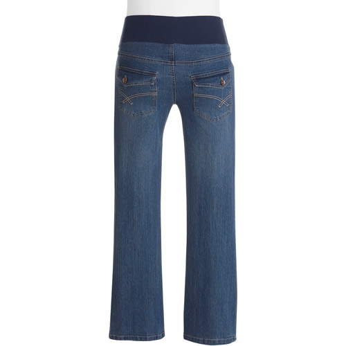 Oh! Mamma Maternity Demi-Panel Bootcut Denim Flap Pocket Jeans