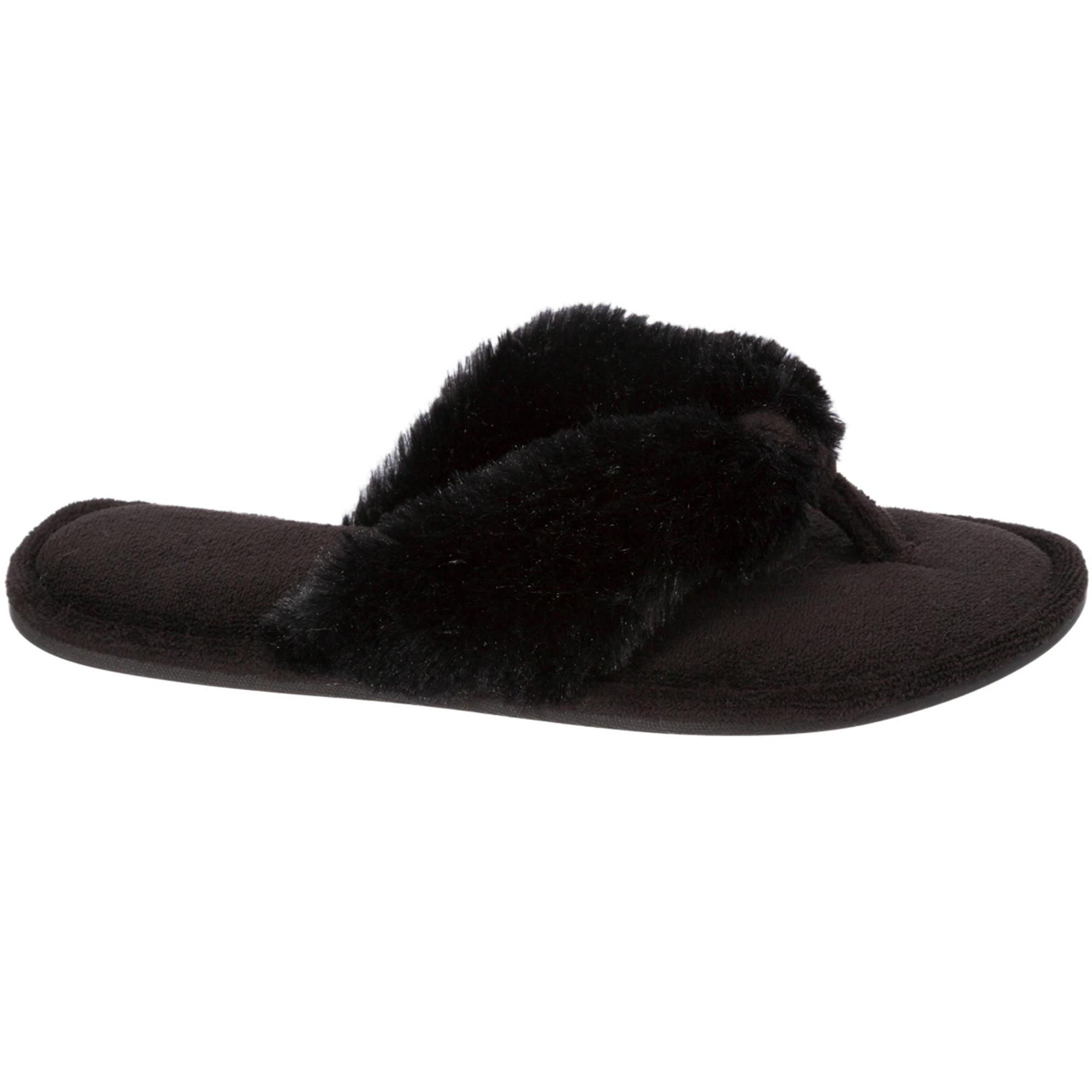 Dearfoams Women's Pile Thong Slippers, Black, Small 5-6