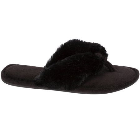Dearfoams Women's Pile Thong Slippers, Black, Small 5-6 (Small Doggie Slippers)
