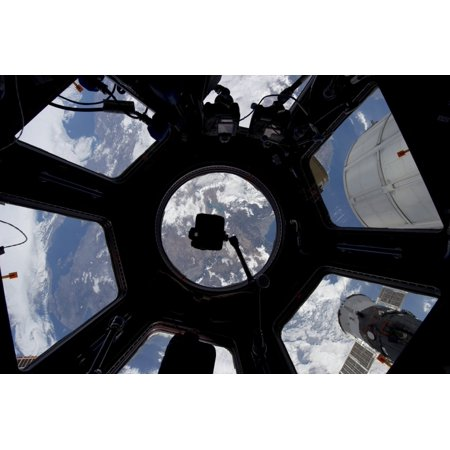 View of Earth through the Cupola on the International Space Station Stretched Canvas - Stocktrek Images (35 x