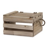 Garden Winds Antique Light Brown Wooden Crate Storage Box with Lid - 7in