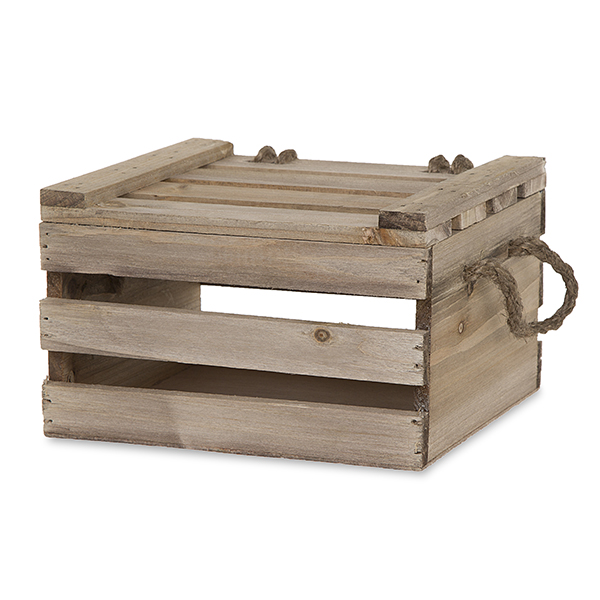 Garden Winds Antique Light Brown Wooden Crate Storage Box With Lid   7in