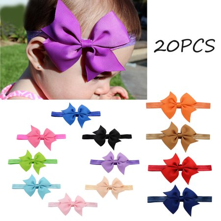 20PCS Cute Infant Headbands Big Bowknot Elastic Hair Band and Bows Baby Girls Head Wrap Hair Accessories for Toddlers (Big Bow Headbands)