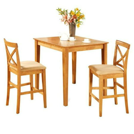 furniture oak pub table and 2 kitchen counter chairs 3 piece dining