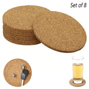 8 Pack Cork Coasters Absorbent Cup Round Cafe Bar Home Drink Beverage DIY Crafts