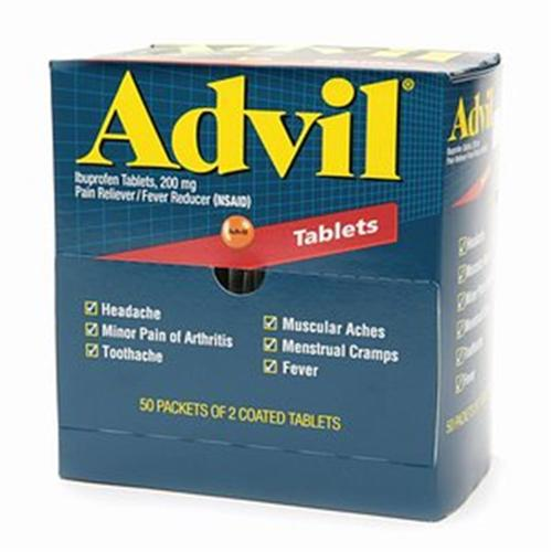Advil Ibuprofen, 200mg (50 Packets of 2 Coated Tablets) 50 ea (Pack of 2)