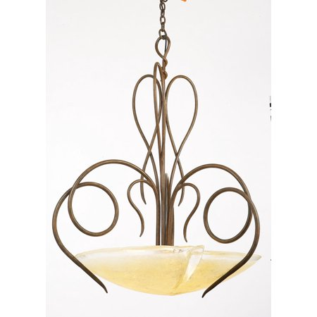 Pendants 3 Light With Tortoise Shell Finish Hand Forged Iron and Glass E26 26 inch 300 Watts