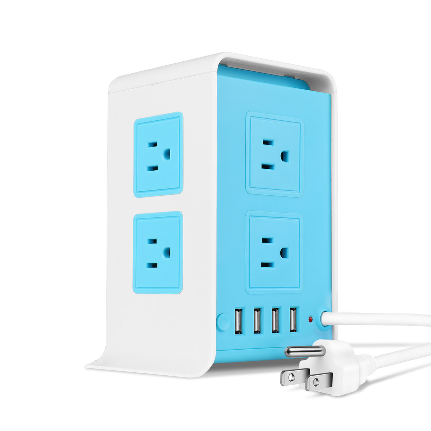 Power Strip Tower Surge Protector with 4 USB Ports 8 AC Outlet, Charging Station Power Supply Multi Socket Plug with 6ft Extension Cord For PC Laptop Smartphone & Appliance (Blue)