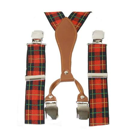 Nice Plaid Suspenders, Navy & Red - Red Sequin Suspenders