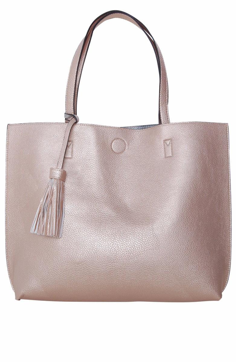 Large Vegan Leather Tote Bag Reversible