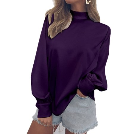 Women Fashion Casual Solid Color High Collar T-shirt Long Bishop Sleeve Loose Chiffon Blouse Pullover Tops