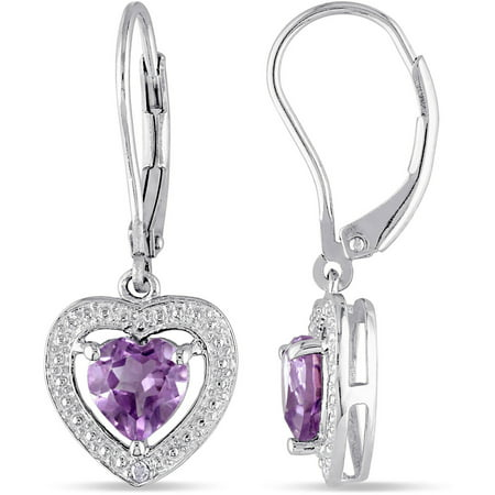1-1/10 Carat T.G.W. Amethyst and Diamond-Accent Sterling Silver Leverback Heart Earrings