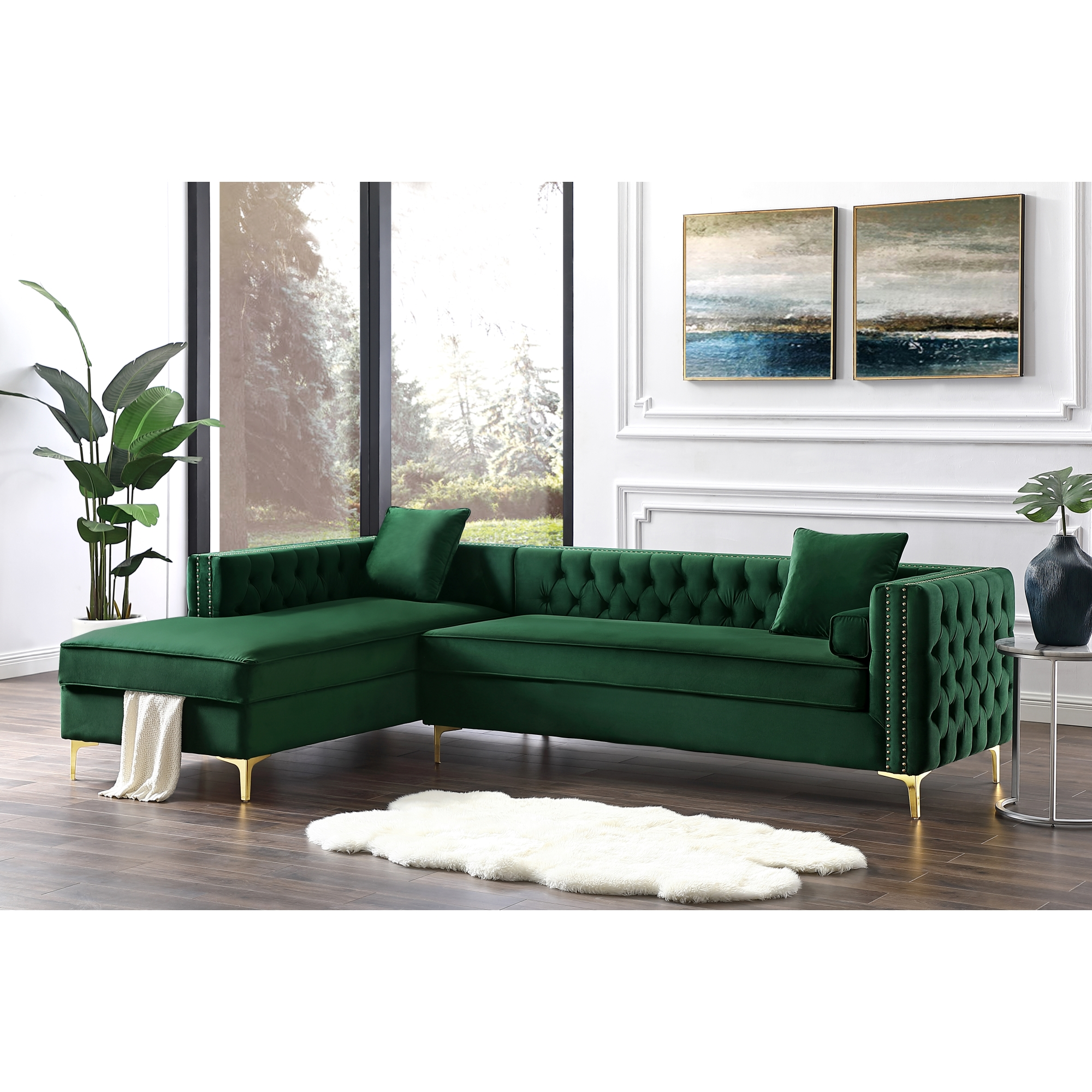"Craig Hunter Green Velvet Chaise Sectional Sofa - 115"" | Left Facing | Tufted | Nailhead Trim"