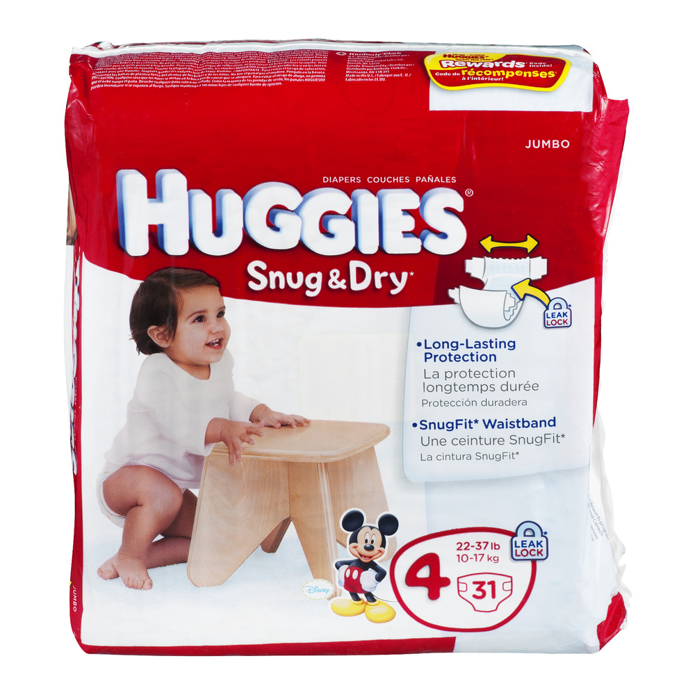 Huggies Snug & Dry Diapers Disney Size 4 22-37 Lb, 31.0 CT by HUGGIES